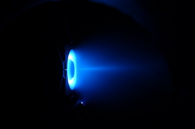 A new ion engine, a Hall thruster being researched to take us to Mars for a fraction of the fuel it would normally take.http://scitation.aip.org/content/aip/journal/apl/107/17/10.1063/1.4932196photo credit: A prototype wall-less Hall thruster firing in a vacuum chamber. CNRS/LAPLACE and CNRS/ICARE